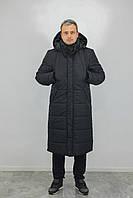 Длинная зимняя мужская черная парка куртка  до -30 пуховик