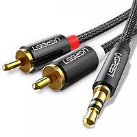 Аудио кабель Ugreen Hi-Fi AUX, jack 3.5 mm - 2xRCA 1 метр Black нейлоновая оплетка