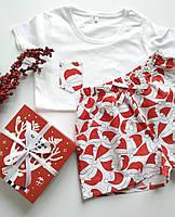 Бело-красная новогодняя пижама для дома и сна с футболкой и шортами