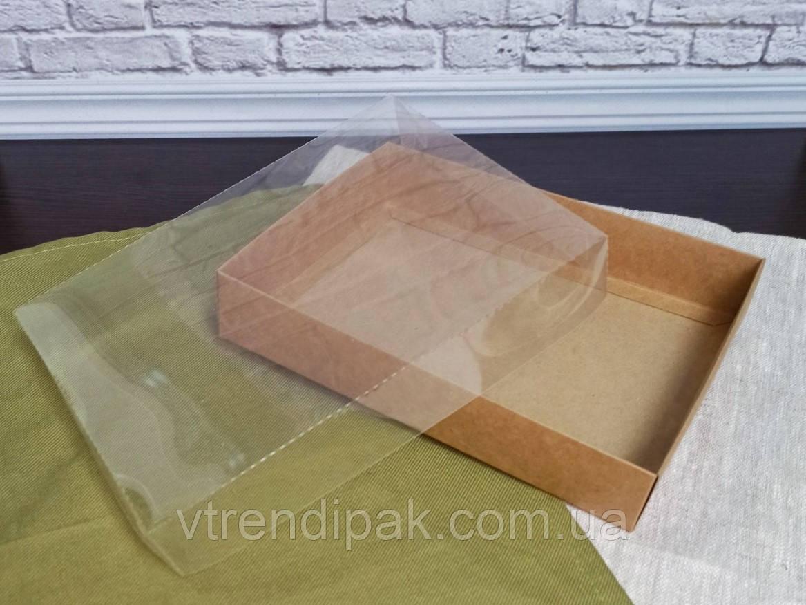Коробка для пряника 200*150*35 Крафт з прозорою кришкою ПВХ