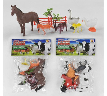 """Домашні тварини Wei Ni Da """"Animal Farm"""" Конячка Корова Гусак Собака та інші 2 види, в кульку 2090"""