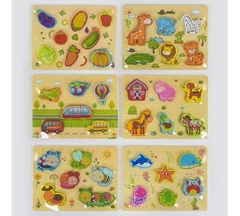 Деревянная игра 2в1 С 37724 (80) 6 видов,  Вкладыши-пазлы