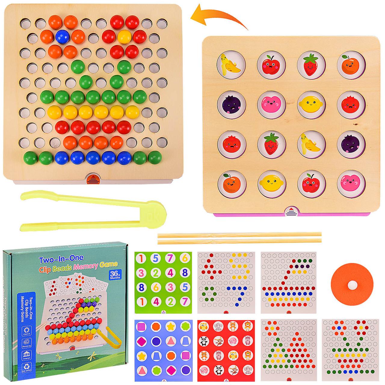 """Деревянная мозаика """"Clip Beads Memory Game"""" 2 в 1 игра на память, мозаика с трафаретами, в коробке WD2701"""