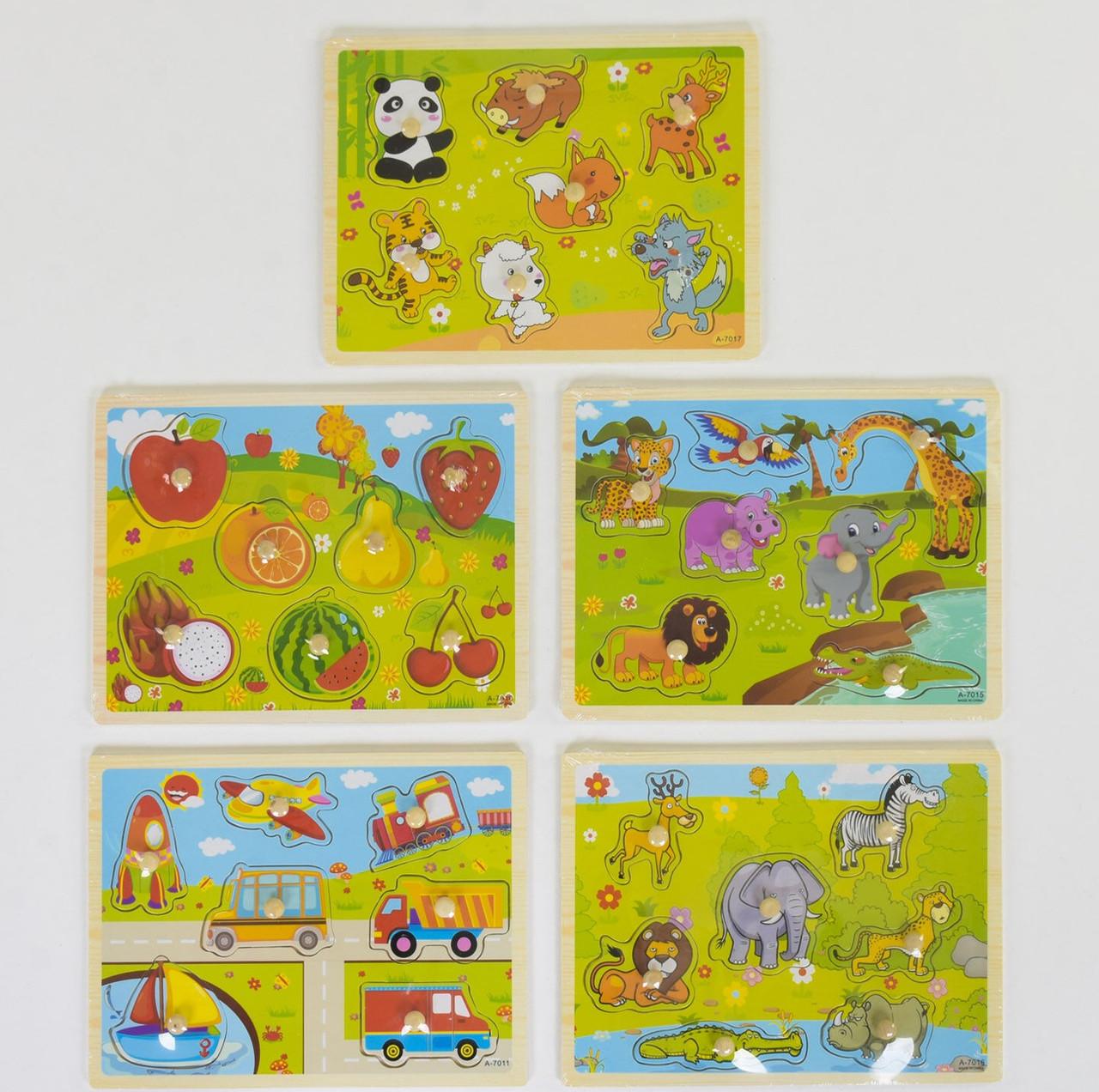 Деревянная игра Рамка-вкладыш с ручкой-держателем, 5 видов С 39067