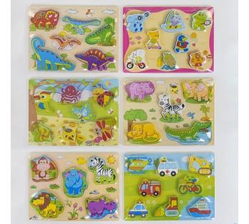 Деревянная игра 2в1 С 37725 (60) 6 видов,  Вкладыши-пазлы