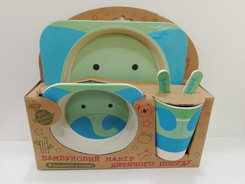 Бамбуковий набір дитячого посуду еко посуд