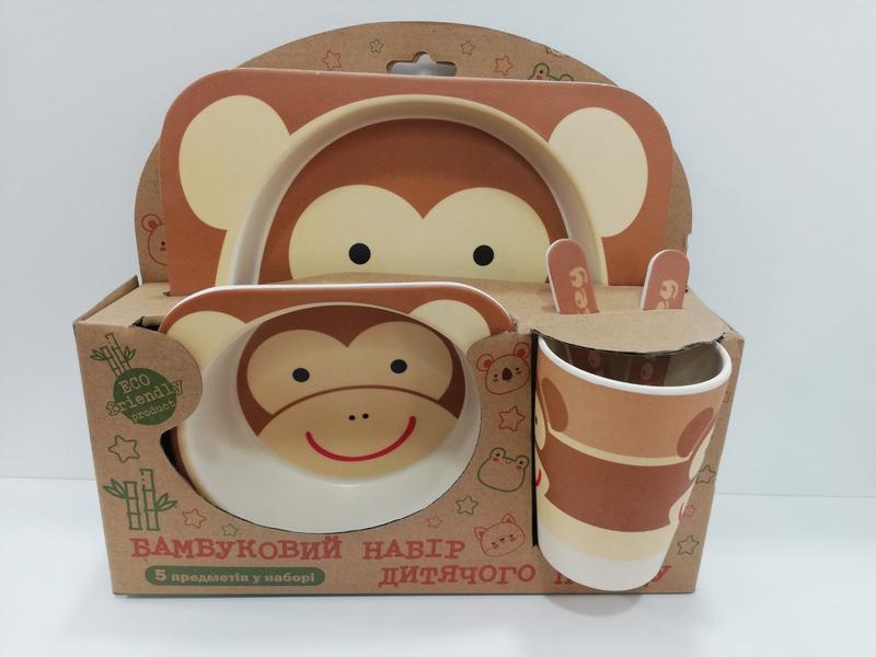 Бамбуковый набор детской посуды эко посуда