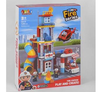 """Конструктор JDLT """"Fire Series"""" ПОЖАРНАЯ СТАНЦИЯ, 128 деталей, свет, звук, в коробке 5416"""