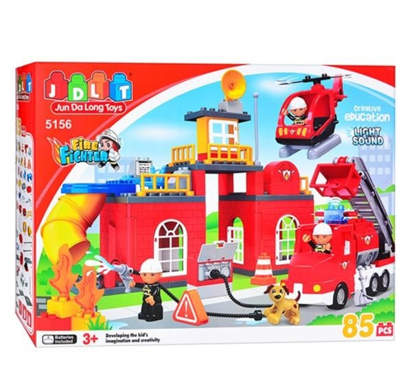 """Конструктор JDLT """"Пожарная станция"""", 85 деталей, звук, свет, питание (3 х LR41), в коробке 5156"""