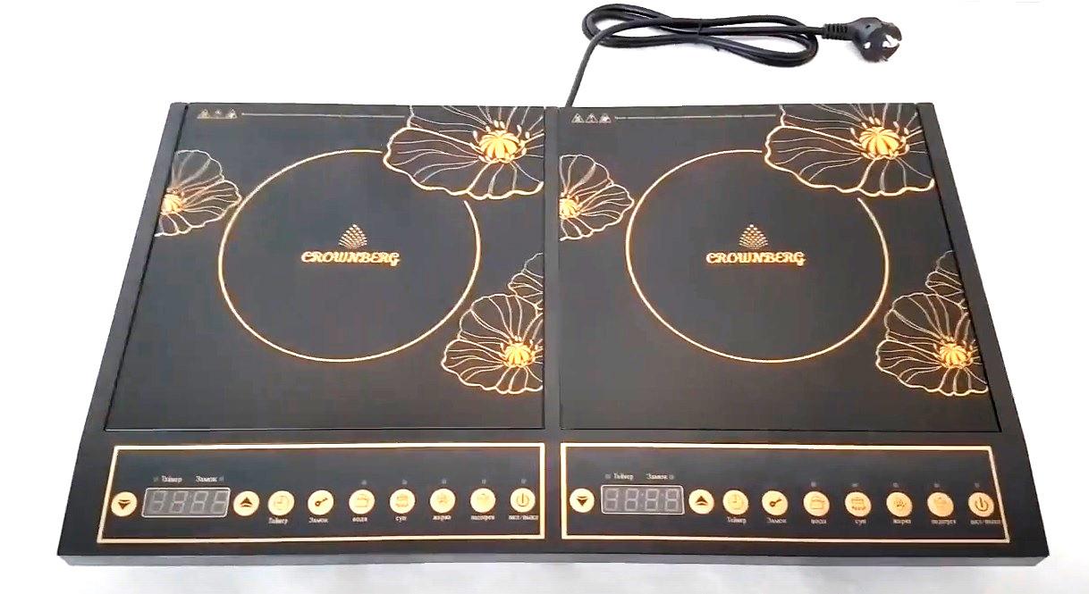 Настольная плита Crownberg CB 1328 индукционная на две конфорки 2000Вт+2000Вт