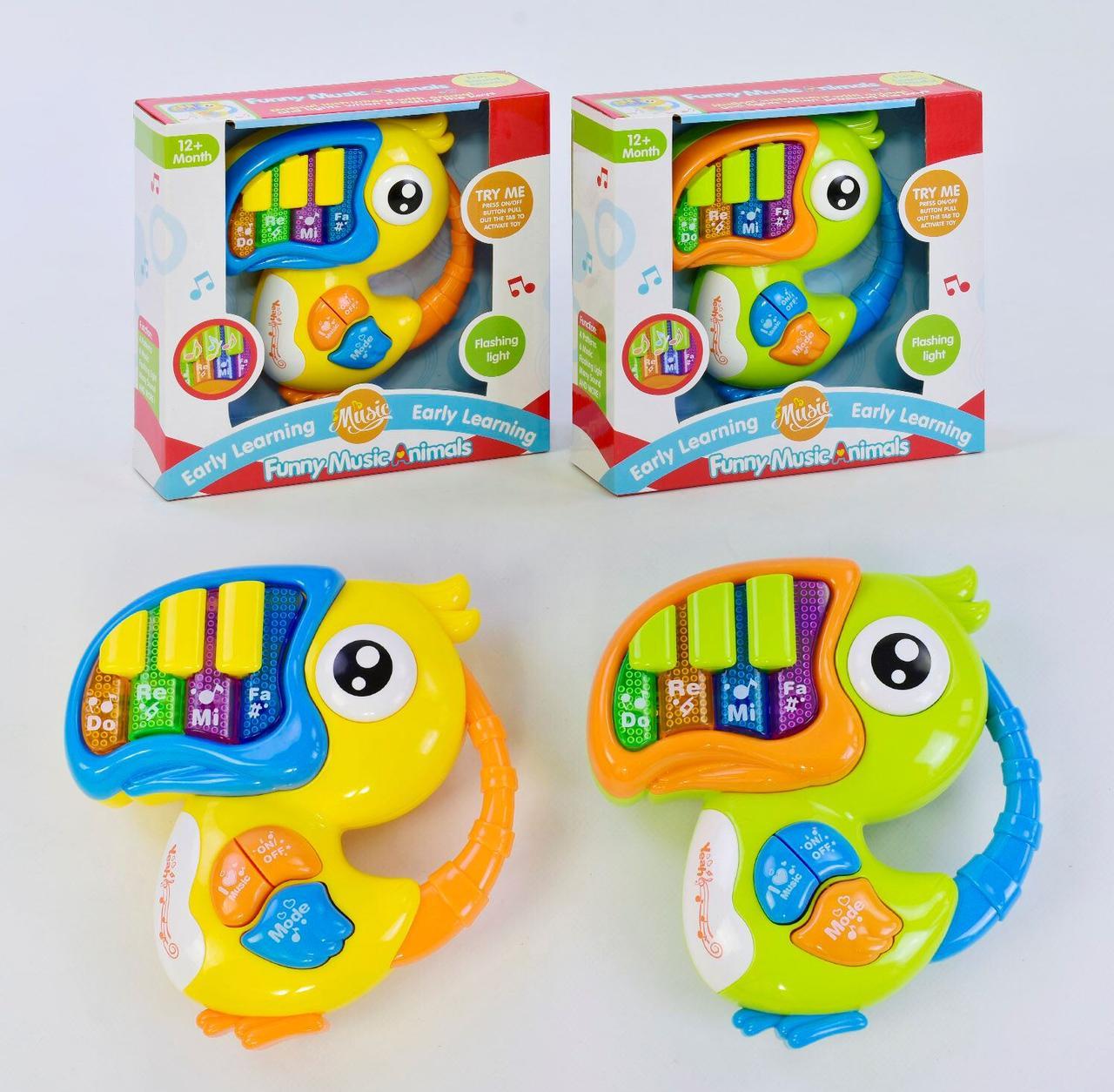 """Пианино Funny Music Animals """"Попугай"""" 2 вида, мелодии, звуки, свет, в коробке 65093"""