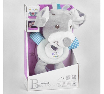 Погремушка мягкая FM 888-4  Собачка   подсветка, звуки, мелодии, в коробке