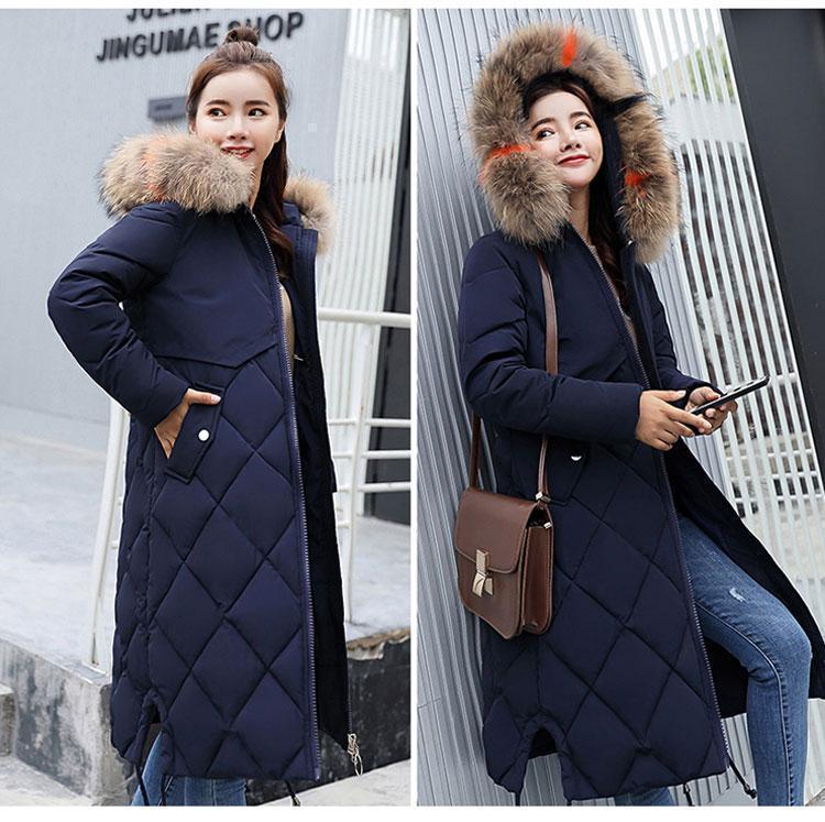 Женское пальто пуховик модные куртки зима с капюшоном, цвет темно синий, размер 44
