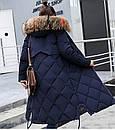 Женское пальто пуховик модные куртки зима с капюшоном, цвет темно синий, размер 44, фото 2