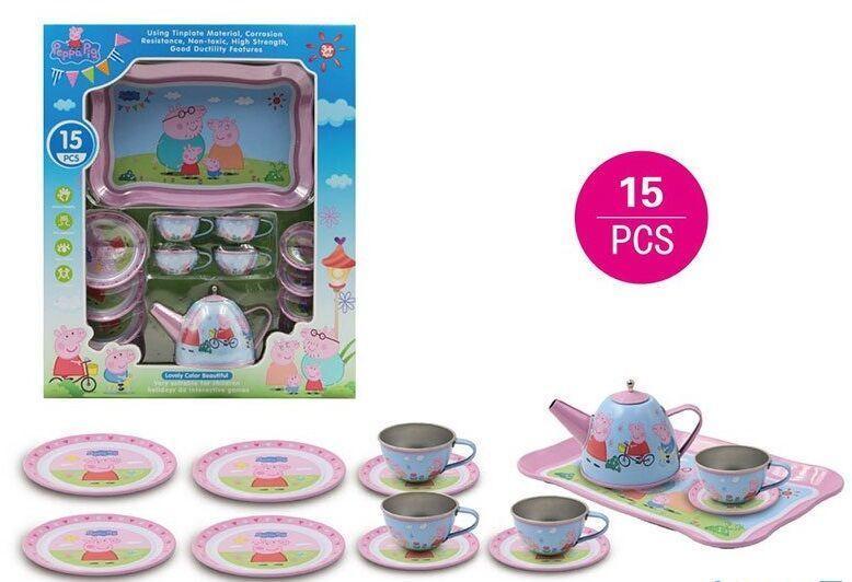 Набор посуды с изображением семьи свинки металлическая, 15 предметов,  в коробке 555 CH 020