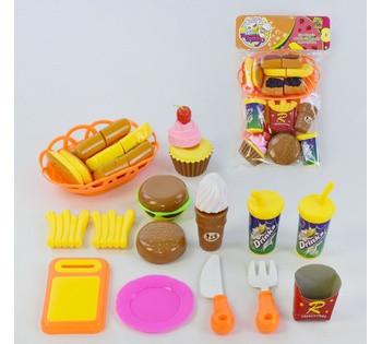Продукты на липучках, фастфуд, ложка, вилка, тарелка, кекс, мороженое, спрайт, разделочная доска 1027