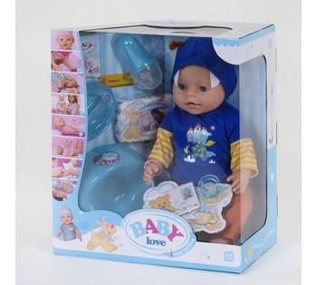 Пупс функциональный BABY LOVE 8 функций, с аксессуарами, в коробке