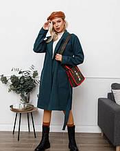 Зеленое кашемировое пальто с поясом