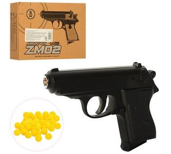 Пистолет детский пневматический ZM02  металл, 16 см, на пульках, в коробке 20,5-15-5 см Копия ПМ