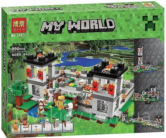 "Конструктор BELA 10472 MY WORLD, Minecraft ""Крепость"" (аналог Lego 21127) 990 деталей"