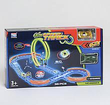 """Автотрек TUD """"Speed Track"""" машинка на акумуляторі, машинка світиться, неонова траса, 36 елементів, в коробці"""
