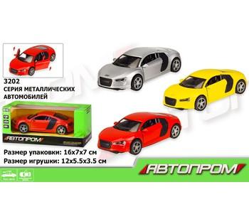 Машина металлическая Автопром, AUDI 3 цвета, открываются двери