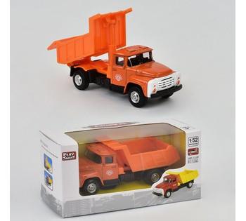 Машинка металлопластик 6517 В Самосвал   ЗИЛ , инерция, кузов откидывается, в коробке