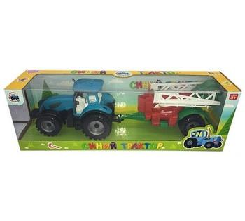 Трактор с прицепом 0488-305 CQ  инерция, звук, 2 цвета, в коробке