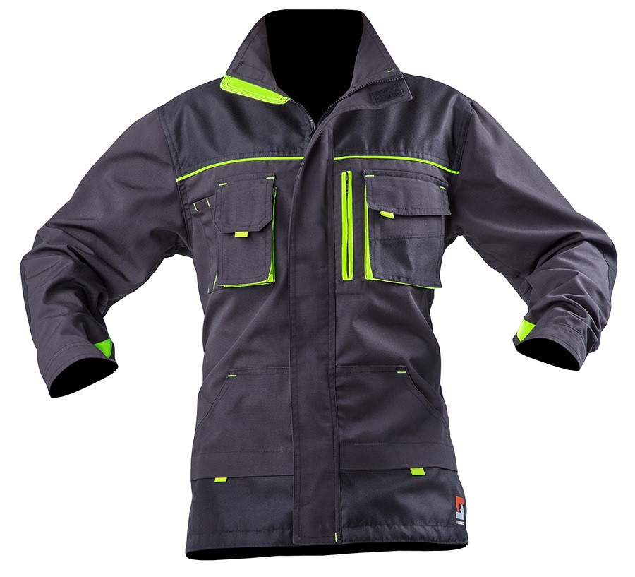 Куртка робоча SteelUZ. Сіра. Лайм вставки XL