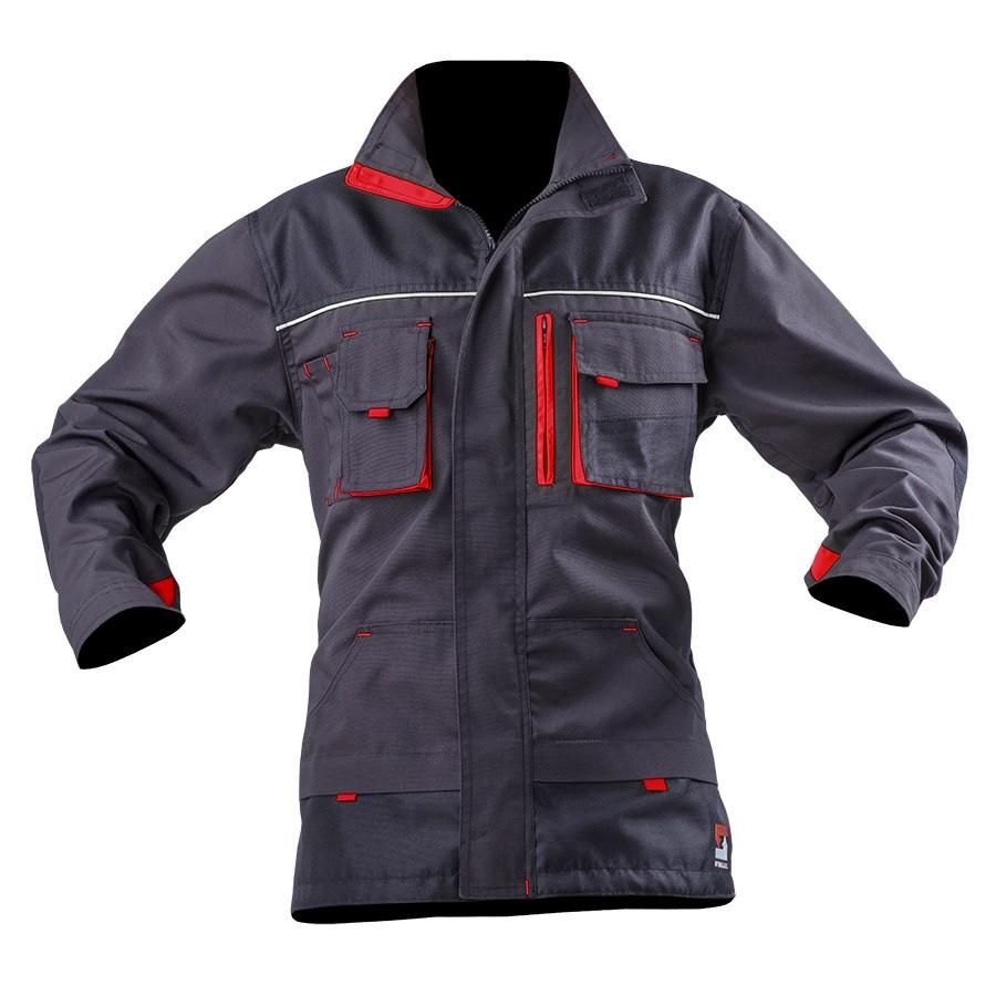 Куртка робоча SteelUZ. Сіра. Червоні вставки XL