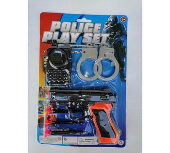 Полицейский набор, пистолет, патроны на присосках, рация, наручники на листе
