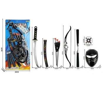 """Набор NINJA """"Ниндзя"""", катана, ножны для катаны, лук и стрелы, нунчаки, сюрикен, маска, на листе 88 С-14"""