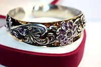 Женский браслет с фиолетовыми фианитами, незамкнутая застежка