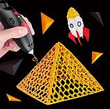 3D ручка детская для создания 3D моделей на аккумуляторе в комплекте с 8-ью цветами пластика.(Черная, Розовая), фото 3