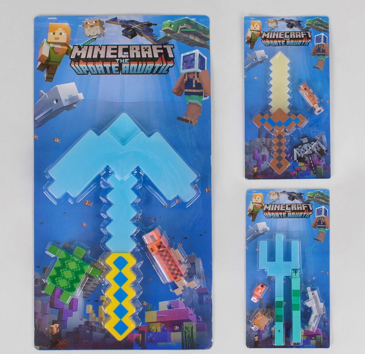 Герои, оружие героев Майнкрафт Minecraft 3 вида, на листе + 3 фигурки JL 19015-2
