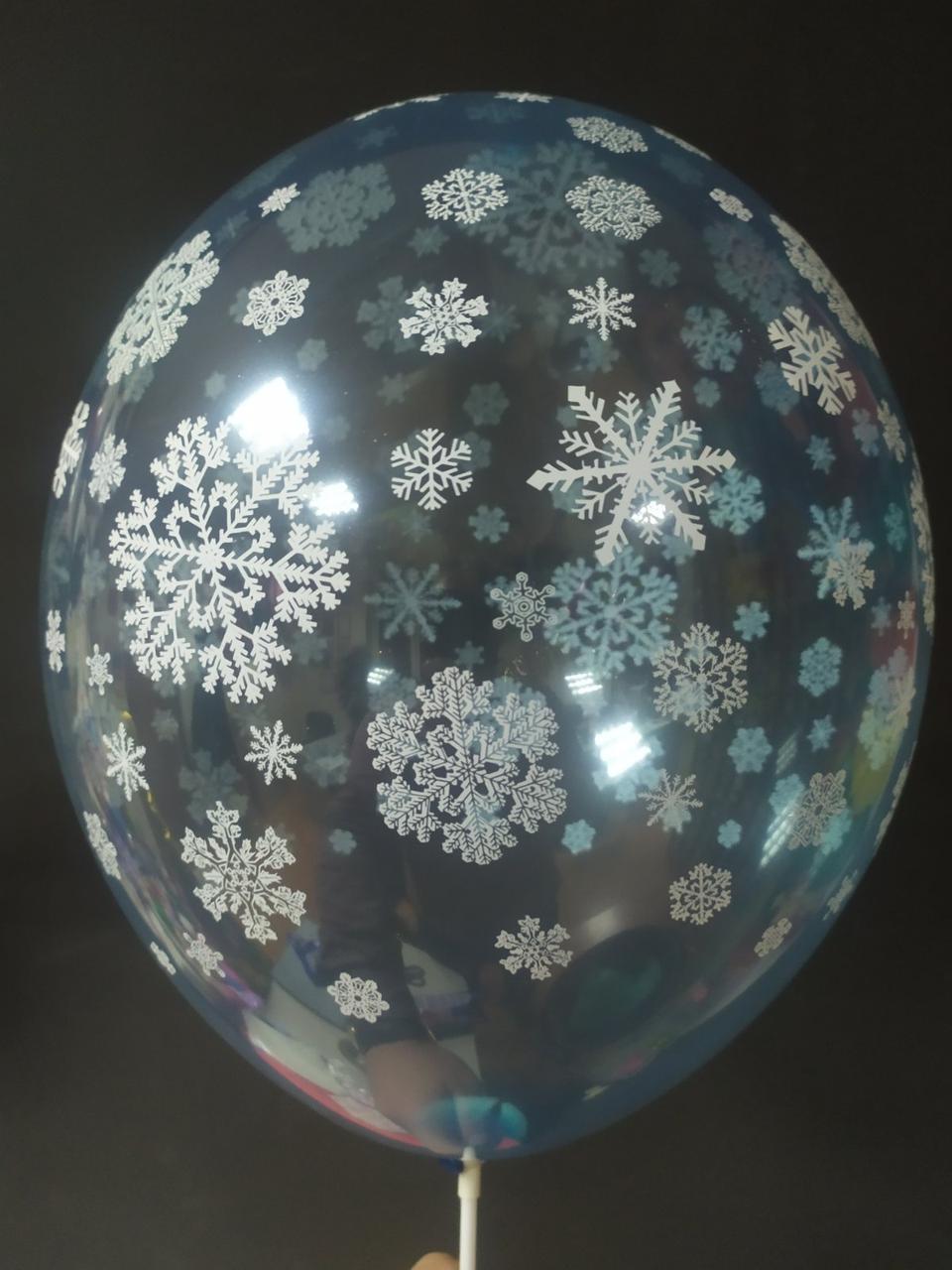 """Латексна кулька з малюнком сніжинки 12"""" 042 крістал синій Bel bal ТМ Star"""