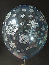 """Латексный шар с рисунком снежинки 12 """"042 кристалл синий Bel bal ТМ Star"""