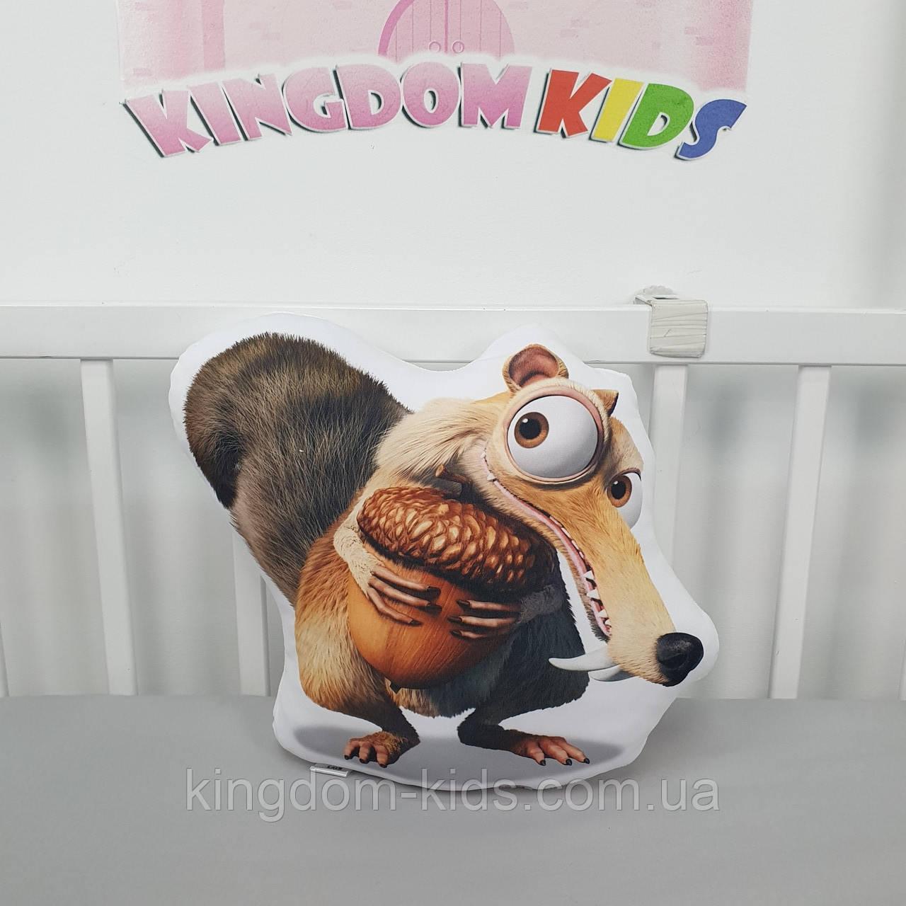 """Игрушка-подушка """"Белка из Ледникового периода""""  с хлопковым велюром на задней стенке"""