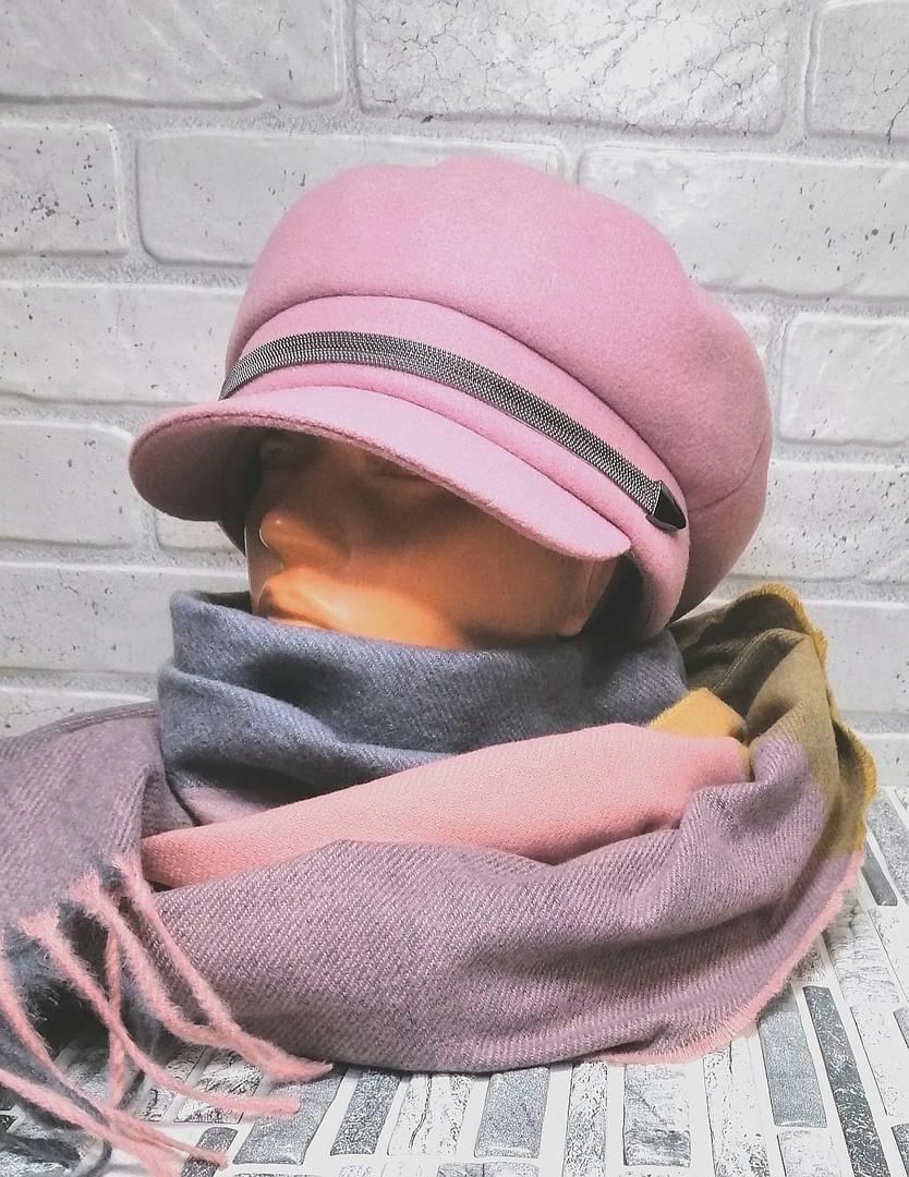 Демисезонная женская кепка пудрового цвета, фетр