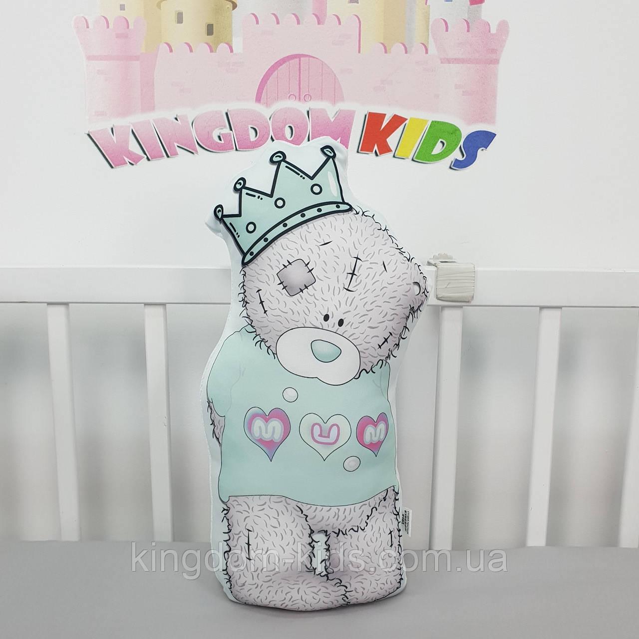 """Игрушка-подушка """"мишка Тедди"""" в мятном цвете с хлопковым велюром на задней стенке"""