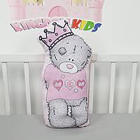 """Игрушка-подушка """"мишка Тедди"""" в розовом цвете с хлопковым велюром на задней стенке"""
