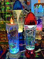 Лава лампа Светильник торнадо новогодняя свеча с блестками