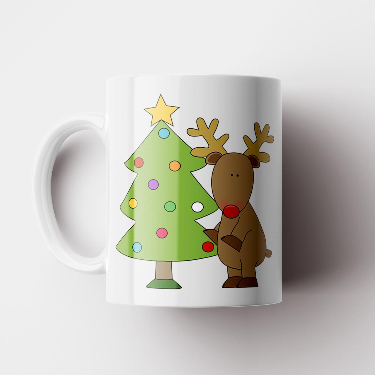 Кружка Ёлка и олень. Merry Christmas. Новогодняя чашка №10. Новый Год