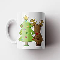 Кружка Ёлка и олень. Merry Christmas. Новогодняя чашка №10. Новый Год, фото 1