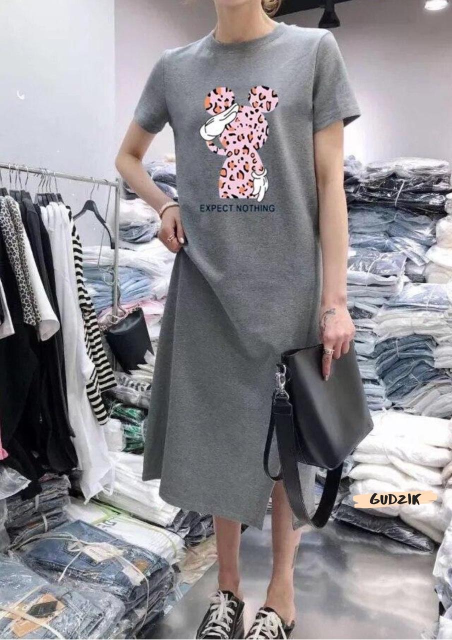 Женское платье миди с разрезом с разными накатками сере и черное