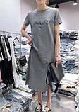 Женское платье миди с разрезом с разными накатками сере и черное, фото 5