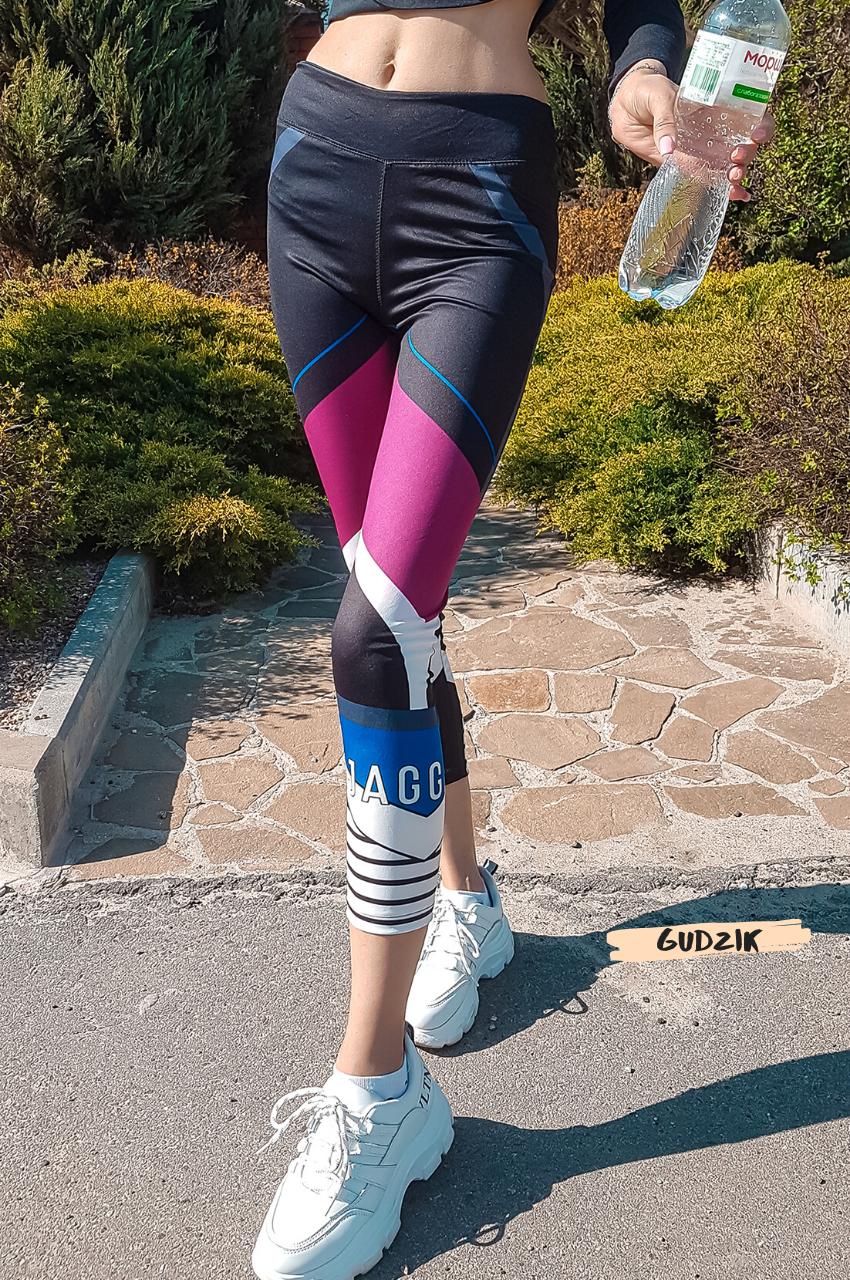 Женские фитнес лосины для спорта в принт