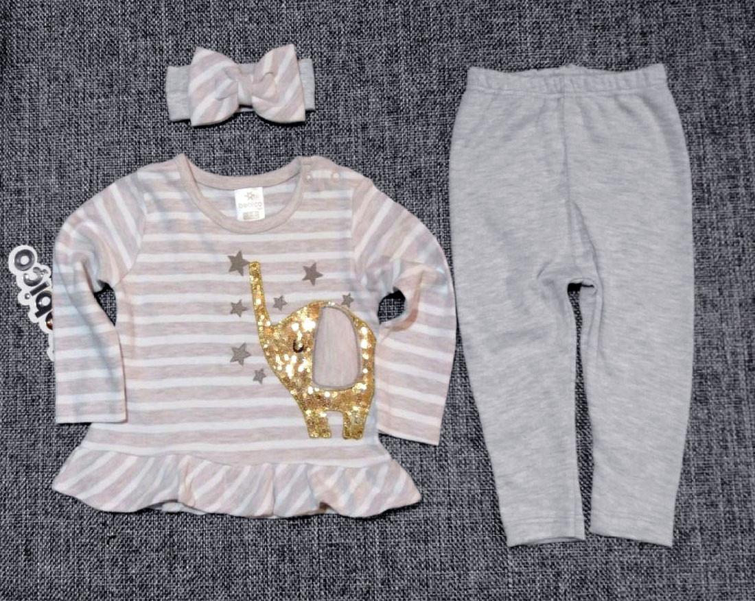 НЕДОРОГО нарядный костюм для новорожденной девочки с повязкой р. 6-9, 12-18 мес. Турция Слоник паетки