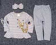 НЕДОРОГО нарядный костюм для новорожденной девочки с повязкой р. 6-9, 12-18 мес. Турция Слоник паетки, фото 1