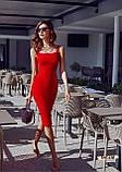 Женское платье футляр миди с широкими бретелями, фото 7